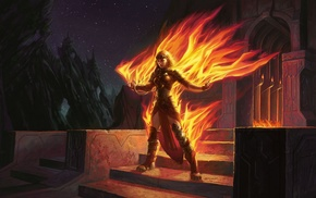 Chandra Nalaar, girl, video games, fire, fantasy art, Magic The Gathering