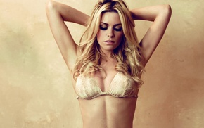 armpits, blonde, arms up, blue eyes, closed eyes, Abigail Clancy
