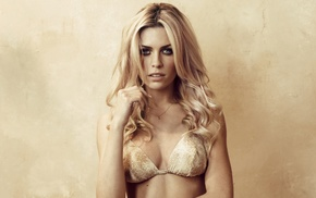 bra, model, Abigail Clancy, smoky eyes, long hair, blonde