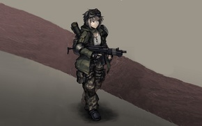 Hellshock, anime, anime girls, machine gun, Hetza
