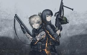 Hellshock, anime, anime girls, Hetza, machine gun