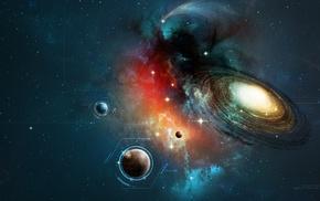 universe, text, lines, digital art, galaxy, spiral galaxy