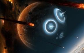planet, universe, stars, meteors, burning, digital art