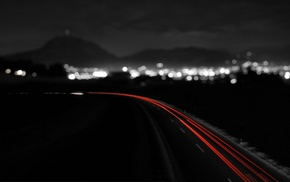 light trails, selective coloring, bokeh