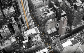 New York City, cityscape, selective coloring, aerial view