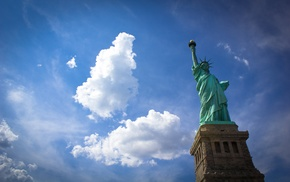 statue, Statue of Liberty, clouds, New York City