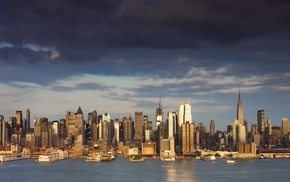 skyline, city, New York City, river