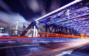 light trails, Shanghai, urban, long exposure, city, bridge