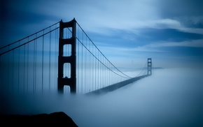 bridge, urban, San Francisco, Golden Gate Bridge, mist