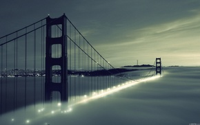 San Francisco, bridge, Golden Gate Bridge, city, urban, mist