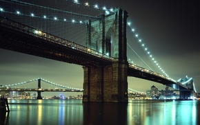 river, city, bridge, Brooklyn Bridge, reflection, lights