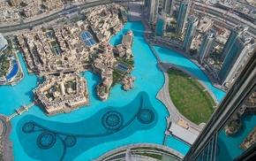 fountain, city, aerial view, cityscape, urban, Dubai