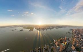 cityscape, urban, city, sunlight, river, coast