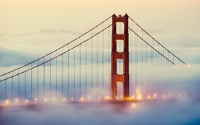 mist, Golden Gate Bridge, street light, San Francisco, bridge