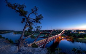 bridge, 360 Bridge, light trails, town, Austin Texas, city