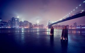 town, lights, city, bridge, night, urban