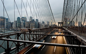 cityscape, bridge, urban, skyscraper, New York City, motion blur