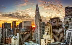 skyscraper, urban, sunset, Empire State Building, city, cityscape