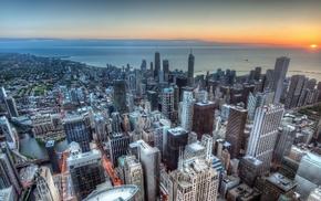 urban, skyscraper, cityscape, sunrise, city, Chicago