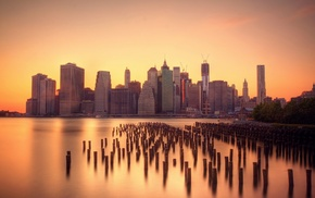 city, urban, New York City, pier, skyline, sunrise