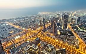 light trails, urban, road, city, Dubai, cityscape