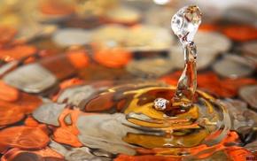 ripples, stones, water drops, macro