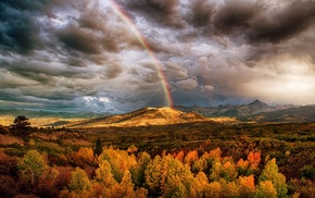 colorful, nature, clouds, fall, rainbows, mountain