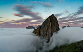 mountain, clouds, landscape, nature, summit, sunrise