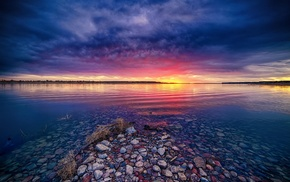 water, pink, nature, landscape, blue, clouds