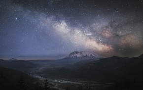 mountain, nature, river, long exposure, starry night, Milky Way