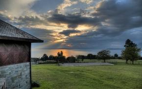 clouds, nature, house, sunrise, grass, green
