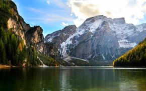 nature, water, lake, landscape, snowy peak, fall