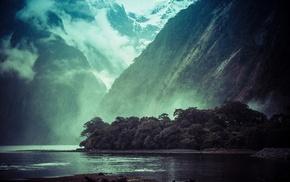 forest, mountain, landscape, lake, snowy peak, mist