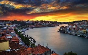 river, bridge, sunset, overcast, house, Porto