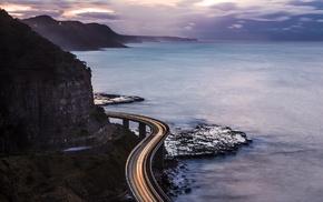 sunset, highway, sea, long exposure, mountain, bridge