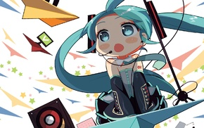 hair ornament, aqua eyes, headsets, chibi, long hair, blushing