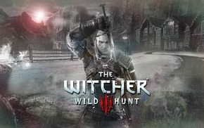 ice  fire, warrior, armor, The Witcher 3 Wild Hunt, town, The Witcher