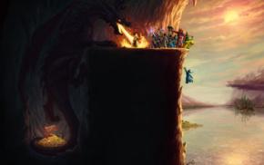 fantasy art, dragon, video games, Magicka, humor