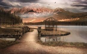 mountain, forest, trees, birds, lake, bridge