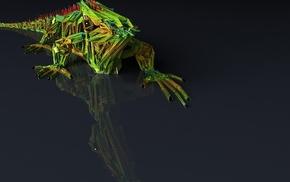 green, minimalism, simple background, iguana, animals, CGI