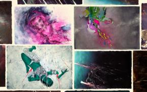 digital art, artistic nude, space, science fiction