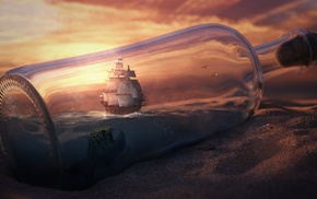 fantasy art, sailing ship, ship, ship in a bottle, bottles, digital art