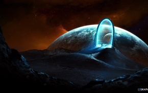 fantasy art, planet, Taenaron, gates, space, science fiction