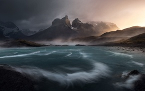 clouds, snowy peak, water, mist, landscape, Chile