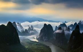 field, mountain, China, sunrise, mist, nature