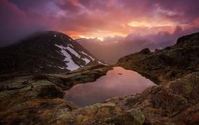 lake, clouds, sunset, mountain, mist, nature
