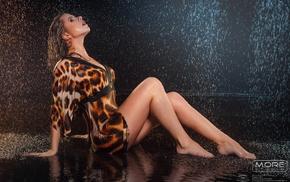 girl, sitting, rain, wet hair, animal print, blonde