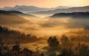nature, sunrise, mountain, forest, Greece, landscape