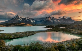 shrubs, clouds, mountain, lake, landscape, Chile