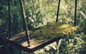wood, photography, blurred, sunlight, grass, swings